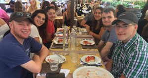 HWS Fall 2019 in Rome students having their welcome lunch in Rome
