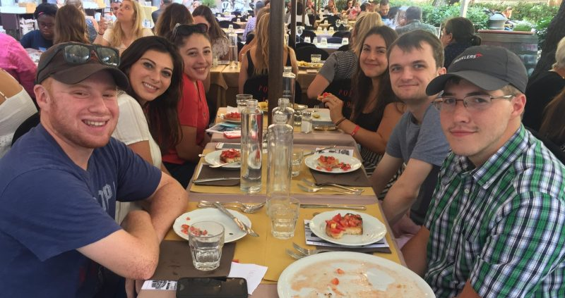 Students having their welcome lunch in Rome